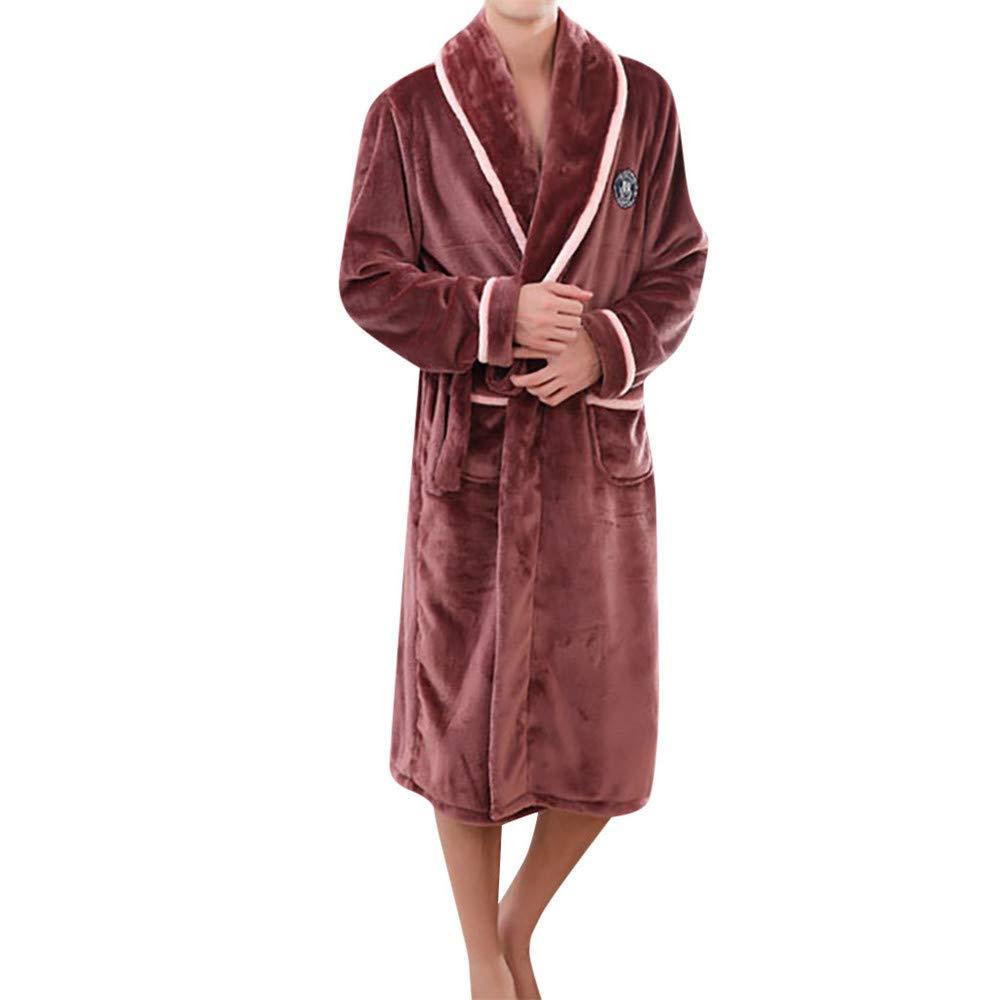 Quelife Man Cotton Nightgown Casual Nights Sleepwear Short Sleeves Thicken Sleepshirt (Coffee,XXL)