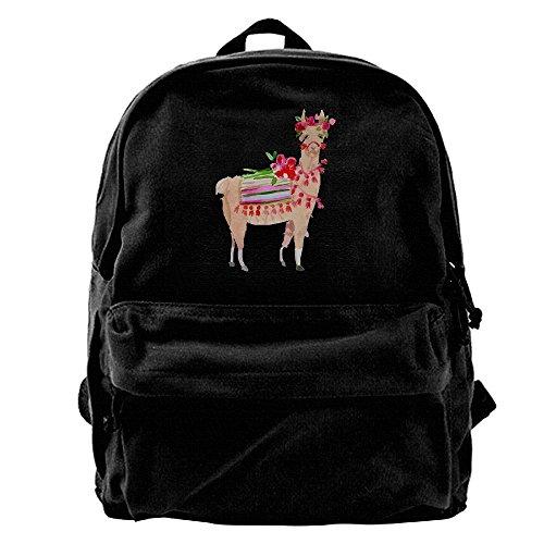 AHOOCUSTOM Llama Print Canvas Shoulder Backpack Men & Women Canvas Backpack School Laptop Bag Hiking Travel (Framed Briefcase)