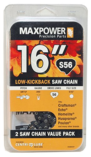 Maxpower 2 Pack Replacement Chains for 16 Inch Craftsman, Echo, Homelite, Poulan and Other saws S56