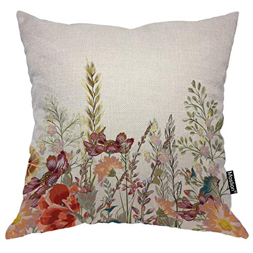 Moslion Floral Throw Pillow Cover Field Flowers Pastel Elegant Spring Marriage Nature Valentine Wedding Square Pillow Case Cushion Cover for Home Car Decorative Cotton Linen 18x18 - Cotton Throw Field