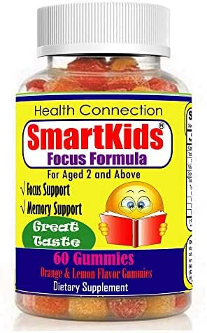SmartKids - Brain Focus & Memory Formula Gummies, Kids & Teens, Improve Memory, Attention & Focus for Children, Great Taste Calming MultiVitamin, Omega 3 DHA Natural Nootropic Supplement, Best Schoo