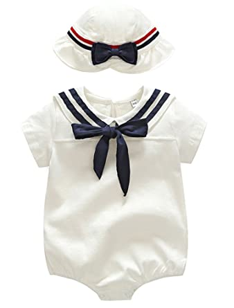 c38d9ba1605 Image Unavailable. Image not available for. Color  ARAUS Short Sleeve Romper  Suit Baby Girl White Nautical Sailor Bodysuit with Hat Summer Clothing Set