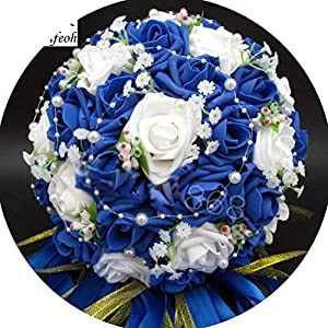 Tokyo Cold Bridal Bouquet Artificial Rose Flowers Pearls Bride Bridal Lace Accents Wedding Bouquets with Ribbon 16