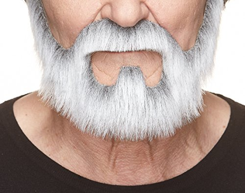 Fake Grey Beard (Mustaches Self Adhesive, Novelty, On Bail Fake Beard, False Facial Hair, Costume Accessory for Adults, Gray with White)