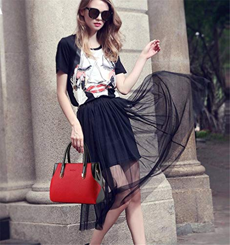 handle Sac tout En Blanc Femme Contemporain Top Grande Bandoulière À Rouge Cuir Main Sacs Bmkwsg Fourre vfz1qax