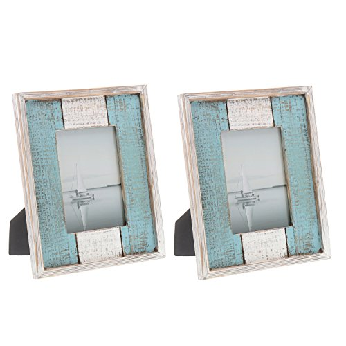 Barnyard Designs Rustic Distressed Picture Frame, 5″ x 7″ Wood Photo Frame in White Turquoise (2-Pack)