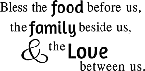 Bless The Food Before Us The Family Beside Us & The Love Between Us Vinyl Wall Decal Quote Lettering Wall Words Handwriting Art Letters Religious Home Decor