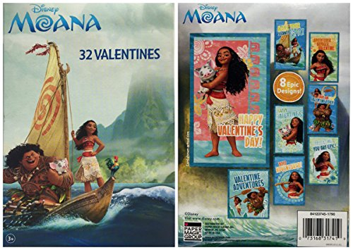 Maui Magic (Disney Moana 32 Fold and Seal Valentines Cards from the Hit Animated Movie Featuring Moana, Maui and Pua (the Piglet) Paper Magic Ages 3 and Up)