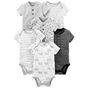 Simple Joys by Carter's Baby Boys' 6-Pack Short-Sleeve Bodysuit, Black/White, 12 Months
