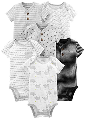 Simple Joys by Carter's Boys' 6-Pack Short-Sleeve Bodysuit, Black/White, 3-6 Months