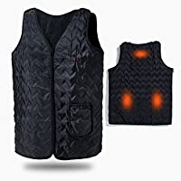 Vinmori Washable Size Adjustable USB Charging Heated Vest (Black)