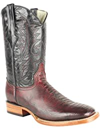 Men's Quincy Ostrich Leg Print Boots Square Toe Handcrafted