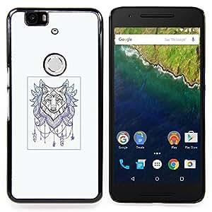 For Huawei Nexus 6P - Wolf Dream Catcher - Tattoo Art /Modelo de la piel protectora de la cubierta del caso/ - Super Marley Shop -