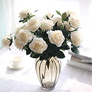 Artificial Flower Bouquet for Wedding 10 Heads French Rose Fake Flower Arrangement Floral Silk Flower for Home Party Table Decor 5