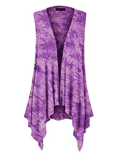 WSK1094 Womens Lightweight Sleeveless Tie Dye Open Front Drape Cardigan L Purple