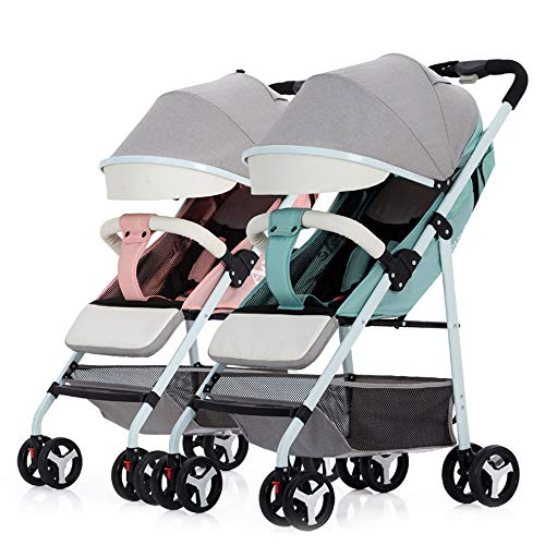 Foldable Double Stroller, Twin Tandem Baby Stroller with Adjustable Backrest, Side by Side Stroller W/Storage Basket Safety,Pink+Green