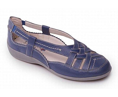 'Delta' Taille Pied Ouvertes en Un Chaussures 25mm Chaussure Chausse Femmes Talon Extra Bleu Gratuit EE Grande Padders d'été Avec Jean Cuir qSvICw