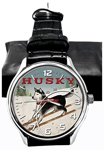 SIBERIAN HUSKY BEAUTIFUL VINTAGE COLLECTIBLE DOG ART 40 mm CHROMED BRASS WRIST WATCH