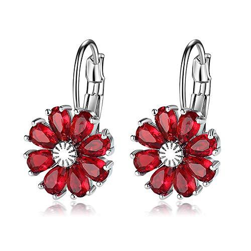 Worry-Free Shopping 14K Gold-Plated Pear Cut Zirconia Flower Lever Back Earrings - Back Flower Crystal Earrings Lever