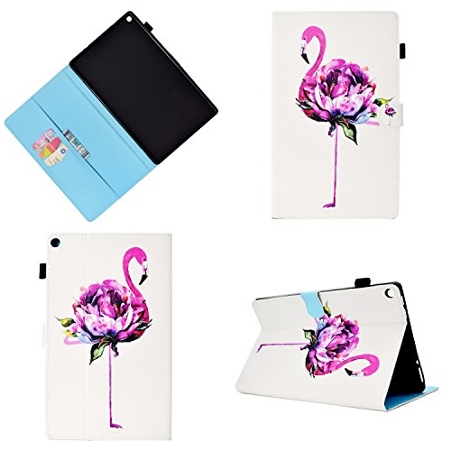 Folio Case for All-New Amazon Fire HD 10 Tablet (7th Generation, 2017 and 5th Gen, 2015), Uliking PU Leather with Auto Wake/Sleep Card Stylus Slot Stand Cover for Fire HD 10.1