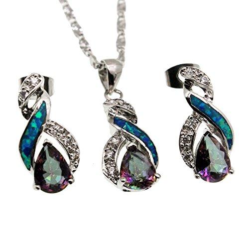 Australian Opal Pendant - Hermosa Jewelry Sets Australian Opal Blue Sapphire Necklace Earrings Christmas Gifts (JS9)
