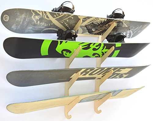 Snowboard Ski Hanging Wall Rack Holds 4 Boards