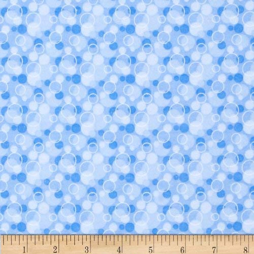 A.E Nathan Flannel Tossed Bubbles Blue Fabric by The Yard,