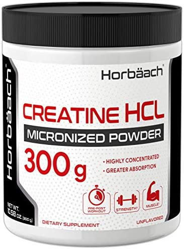 Micronized Creatine HCL Powder 300 Grams Unflavored Hydrochloride Powder Superior Absorption, Highly Concentrated Vegetarian, Gluten Free, Non-GMO by Horbaach