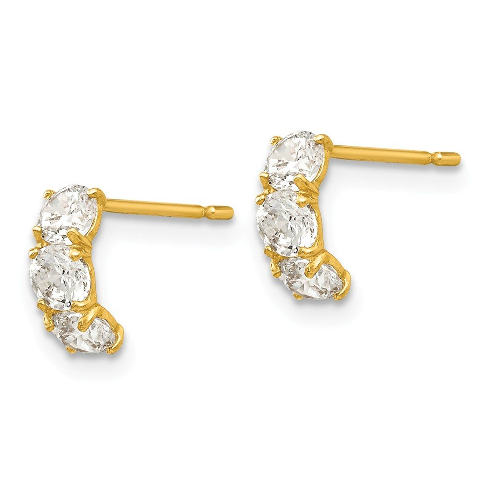 14K Yellow Gold Jewelry J-Hoop Earrings Solid 4 mm 8 mm Madi K CZ Childrens Three Stone Post Earrings