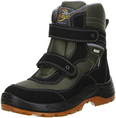M&G Damen Winterstiefel Snowboots Klettverschluss schwarz/khaki Mehrfarbig