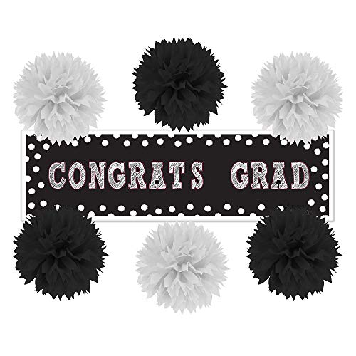 Party City Black and White Graduation Wall Decorating Kit, Includes a Large Banner and Tissue Paper Pom-Poms ()