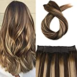 Moresoo Halo Extensions Human Hair 80 Grams Per Pack Balayage Colorful #4 Fading to #27 and #4 Flip on Extensions Human Hair Remy Extensions Human Hair 18 Inch 3/4 Full Head Set