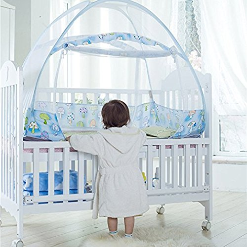 AUMEY Zippered Baby Mosquito Net Foldable Baby Bed Kids Tent Nursery Crib Canopy Netting Folding Cot Mosquito Net (592935inch) by AUMEY (Image #4)