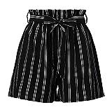 Nevera Women's Casual Elastic Waist Self Tie Striped Ruffles Summer Beach Shorts Black