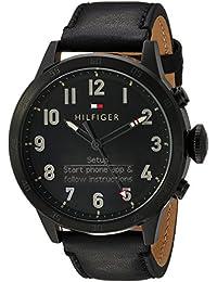Men's 'TH 24/7' Quartz Resin and Leather Smart Watch, Color: Black (Model: 1791301)