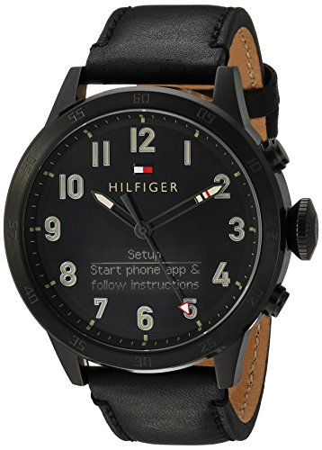 Tommy Hilfiger Men's 'TH 24/7' Quartz Resin and Leather Smart Watch, Color: Black (Model: 1791301) by Tommy Hilfiger