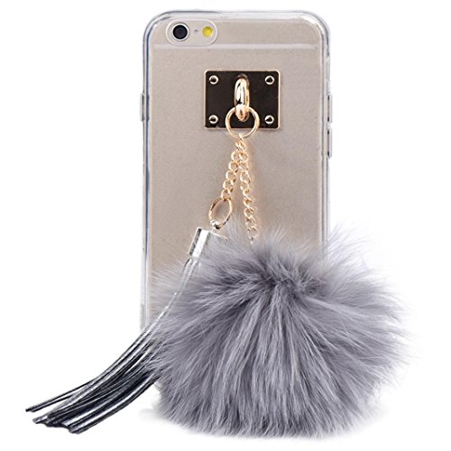 oft Transparent TPU Protect Phone With Fur Ball For iPhone 6 plus/6S plus 5.5 Inch (Gray) (1aaa Cell)