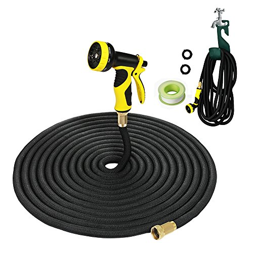 100FT Garden Hose,LAPOND Black Expandable Hose 100 Feet With Solid Brass Connector,9-pattern Spray Nozzle ,Hose Hanger Free,Update Version Expanding Garden Hose(Black,100FT)
