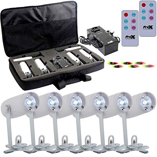 (ProX SimpleSpot Package with 6x Cool White Battery-Operated LED Pin Spot Lights, Remote Control, Color Filters, Charging Carry Bag)