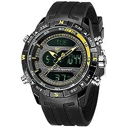 Hooktooth Shark Men's Silicone Quartz Wrist Watch LCD Date Day Display Alarm Clock SH599
