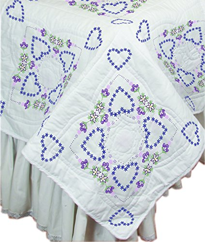 """Fairway 95013 Delightful Hearts Stamped Quilt Blocks (6 Pack), 18"""" by 18"""""""