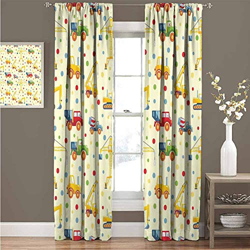 KAKKSW Room Darkening Wide Curtains, Great for Living Rooms and Bedrooms, Kids, Construction Machines Toys Print Colorful Dots Lorry Digger Truck Tractor Themed Print, 84