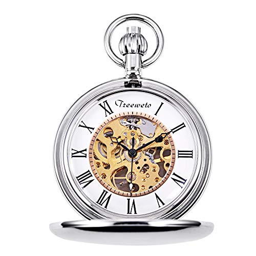 TREEWETO Pocket Watch Silver Smooth Case Skeleton Dial Mechanical Movement with Chain + Gift Box