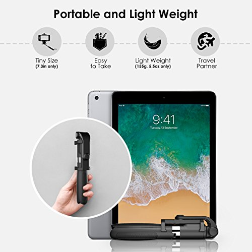 Bluetooth Selfie Stick Tripod, ELEGIANT 2 in 1 Extendable Monopod Selfie Stick with Removable Mini Bluetooth Remote, Adjustable Head and Tripod Stand Selfie Stick for iPhone/Huawei/Samsung (Black) by ELEGIANT (Image #5)