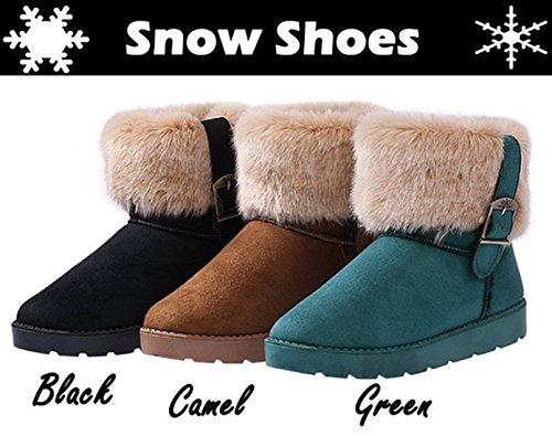 invierno Camel nieve Zeagoo de plano de Faux Fur Mujeres Tobillo Botas Calientes Suede zapatos 7T7OF6w