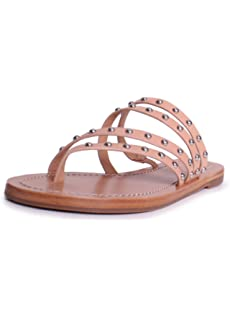 e9f37da1a89083 Tory Burch Patos Leather Studded Sandals in Natural Vachetta