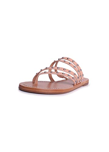 dc0b8a887 Tory Burch Patos Leather Studded Sandals in Natural Vachetta Size 7.5