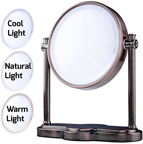 Tone Antique Finish (Ovente LED Lighted Makeup Mirror, SmartTouch 3-Tone Lighting (Daylight, Cool, Warm), Tabletop Vanity Mirror, Battery or USB Adapter Operated, 1x/5x Magnification, 8 inch, Antique Brass (MHT80AB1X5X))
