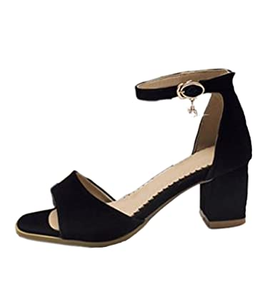 30c2d43ceb2 Easemax Women s Mid Chunky Heel Open Toe Ankle Buckle Strap Faux Suede  Sandals with Rhinestones Black