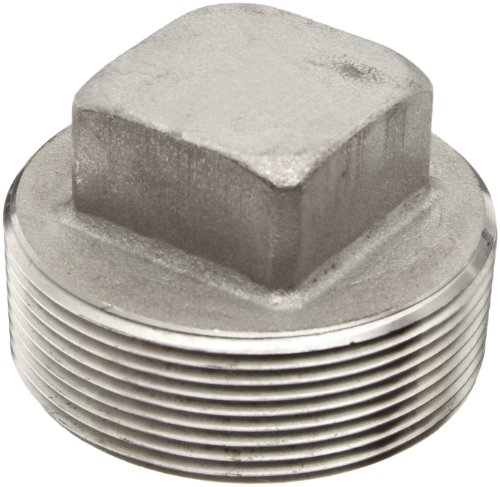 Merit Brass Stainless Steel 304 Pipe Fitting, Square Head Plug, Class 1000, 1'' National Pipe Taper Thread Male (Pack of 25) by Merit Brass